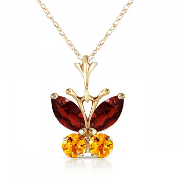 Garnet & Citrine Butterfly Pendant Necklace in 9ct Gold
