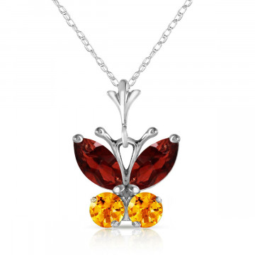 Garnet & Citrine Butterfly Pendant Necklace in 9ct White Gold
