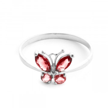 Garnet & Citrine Butterfly Ring in 9ct White Gold