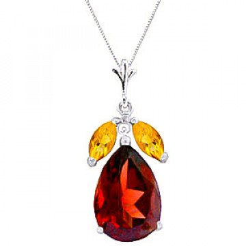 Garnet & Citrine Pear Drop Pendant Necklace in 9ct White Gold