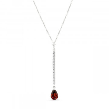 Garnet & Diamond Bar Pendant Necklace in 9ct White Gold