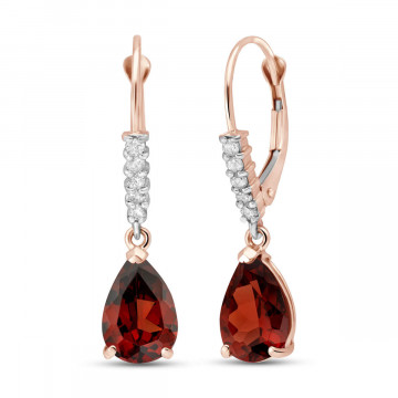 Garnet & Diamond Belle Drop Earrings in 9ct Rose Gold