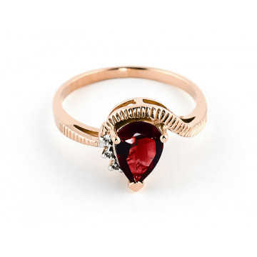 Garnet & Diamond Belle Ring in 9ct Rose Gold