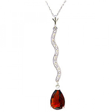 Garnet & Diamond Cannes Pendant Necklace in 9ct White Gold