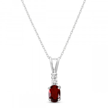 Garnet & Diamond Cap Oval Pendant Necklace in 9ct White Gold