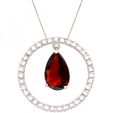 Garnet & Diamond Circle of Life Pendant Necklace in 9ct White Gold