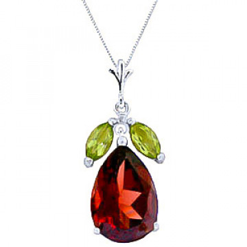 Garnet & Peridot Pear Drop Pendant Necklace in 9ct White Gold