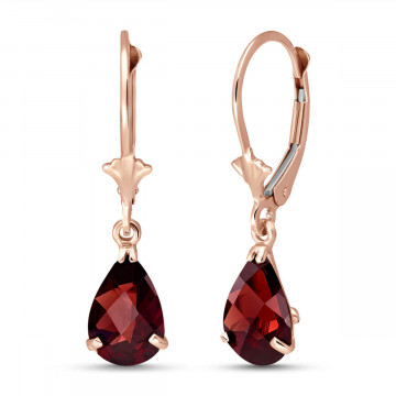 Garnet Belle Drop Earrings 2.45 ctw in 9ct Rose Gold