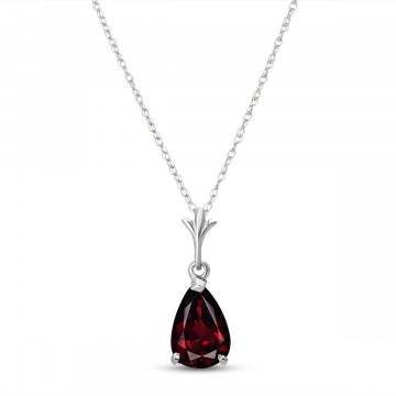 Garnet Belle Pendant Necklace 1.5 ct in 9ct White Gold