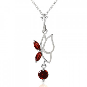 Garnet Butterfly Pendant Necklace 0.18 ctw in 9ct White Gold