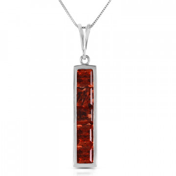 Garnet Channel Set Pendant Necklace 2.25 ctw in 9ct White Gold