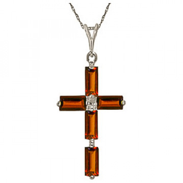 Garnet Cross Pendant Necklace 1.15 ctw in 9ct White Gold