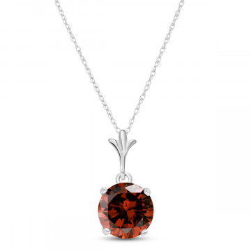 Garnet Drop Pendant Necklace 1.15 ct in 9ct White Gold