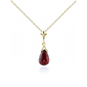 Garnet Droplet Pendant Necklace 2.5 ct in 9ct Gold