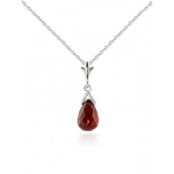 Garnet Droplet Pendant Necklace 2.5 ct in 9ct White Gold