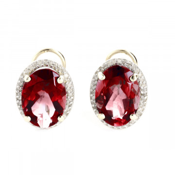 Garnet French Clip Halo Earrings 12.46 ctw in 9ct Gold
