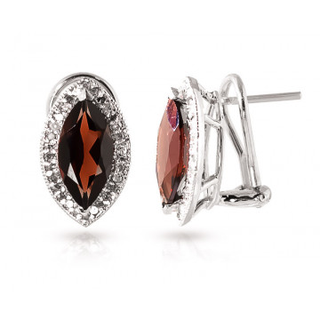 Garnet French Clip Halo Earrings 4.3 ctw in 9ct White Gold