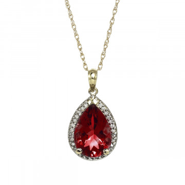 Garnet Halo Pendant Necklace 4.06 ctw in 9ct Gold