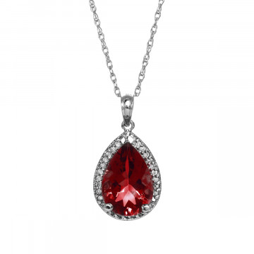 Garnet Halo Pendant Necklace 4.06 ctw in 9ct White Gold