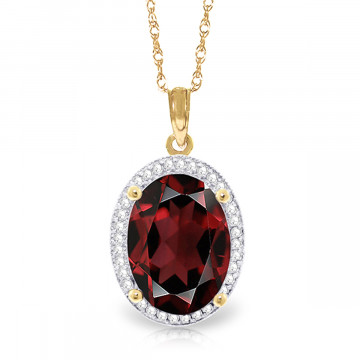 Garnet Halo Pendant Necklace 6.23 ctw in 9ct Gold