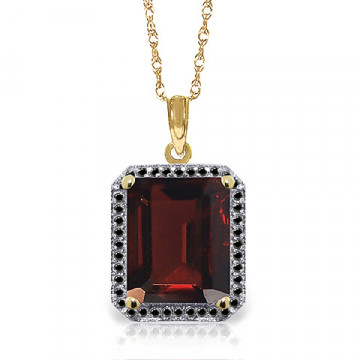 Garnet Halo Pendant Necklace 7.7 ctw in 9ct Gold