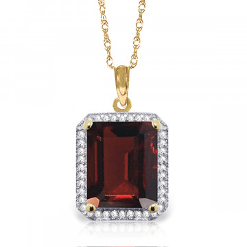 Garnet Halo Pendant Necklace 7.8 ctw in 9ct Gold