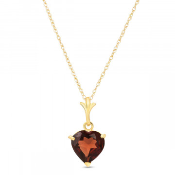 Garnet Heart Pendant Necklace 1.5 ct in 9ct Gold