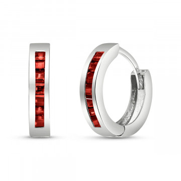 Garnet Huggie Earrings 1.3 ctw in 9ct White Gold