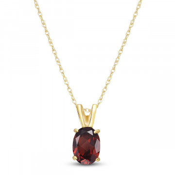 Garnet Oval Pendant Necklace 0.85 ct in 9ct Gold
