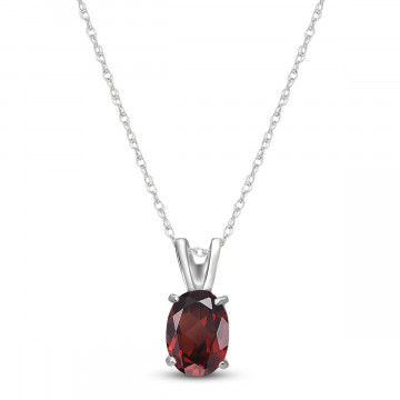 Garnet Oval Pendant Necklace 0.85 ct in 9ct White Gold