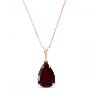 Garnet Pear Drop Pendant Necklace 5 ct in 9ct Rose Gold