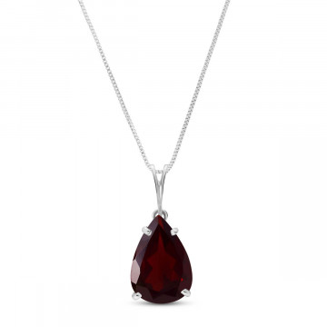 Garnet Pear Drop Pendant Necklace 5 ct in 9ct White Gold