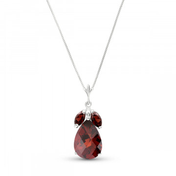 Garnet Pear Drop Pendant Necklace 6.5 ctw in 9ct White Gold