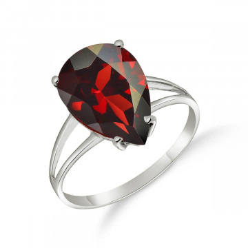 Garnet Pear Drop Ring 5 ct in 9ct White Gold