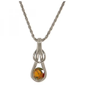 Garnet San Francisco Pendant Necklace 0.65 ct in 9ct White Gold