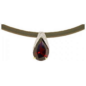 Garnet Snowcap Leather Pendant Necklace 6 ct in 9ct White Gold