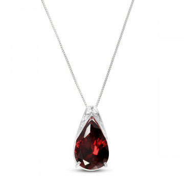 Garnet Snowcap Pendant Necklace 5 ct in 9ct White Gold