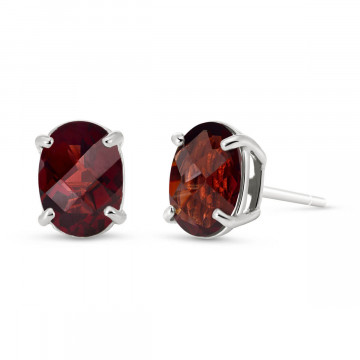 Garnet Stud Earrings 1.8 ctw in 9ct White Gold