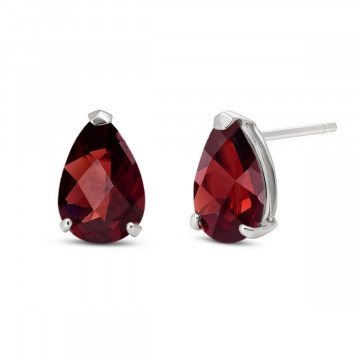 Garnet Stud Earrings 3.15 ctw in 9ct White Gold