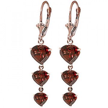 Garnet Triple Heart Drop Earrings 6 ctw in 9ct Rose Gold