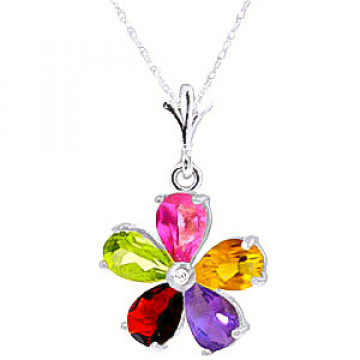 Gemstone & Diamond Flower Petal Pendant Necklace in 9ct White Gold