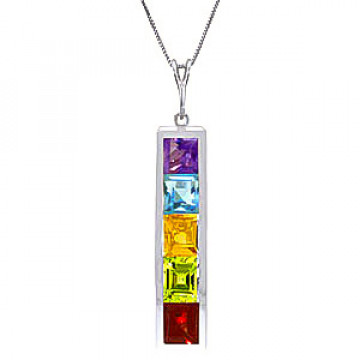 Gemstone Channel Set Pendant Necklace 2.25 ctw in 9ct White Gold