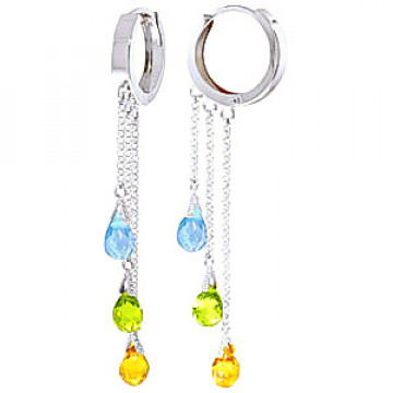Gemstone Trilogy Droplet Earrings 4.8 ctw in 9ct White Gold
