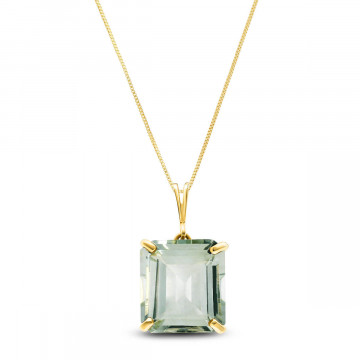 Green Amethyst Auroral Pendant Necklace 6.5 ct in 9ct Gold