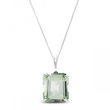Green Amethyst Auroral Pendant Necklace 6.5 ct in 9ct White Gold