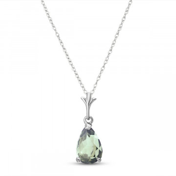 Green Amethyst Belle Pendant Necklace 1.5 ct in 9ct White Gold