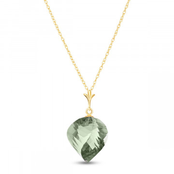 Green Amethyst Briolette Pendant Necklace 13 ct in 9ct Gold
