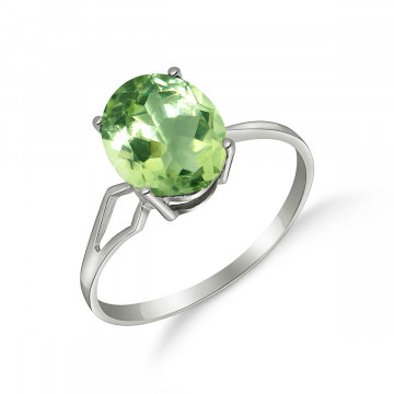 Green Amethyst Claw Set Ring 2.2 ct in 9ct White Gold
