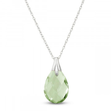 Green Amethyst Dewdrop Pendant Necklace 3 ct in 9ct White Gold