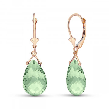Green Amethyst Droplet Earrings 10.2 ctw in 9ct Rose Gold